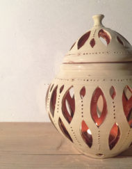 Big ceramic white candle lantern