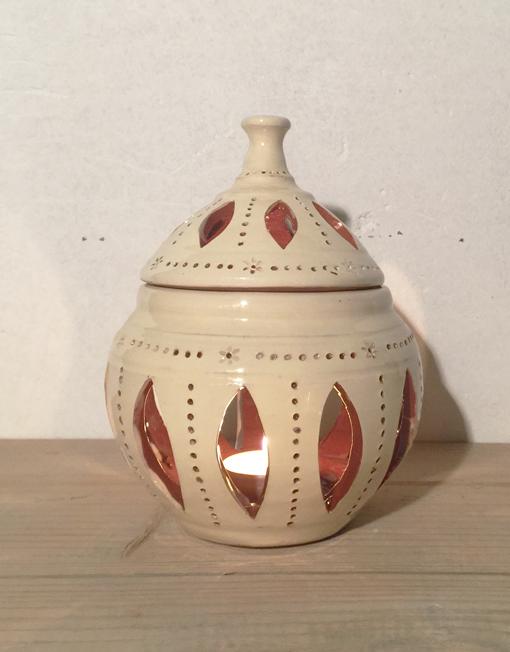 Medium ceramic candle lantern in white