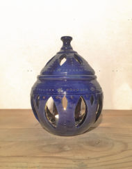 Medium ceramic candle lantern in blue