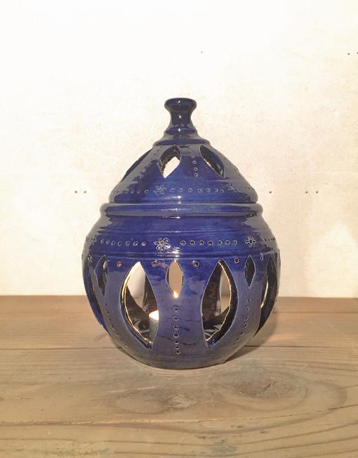 Medium ceramic candle lantern in blue