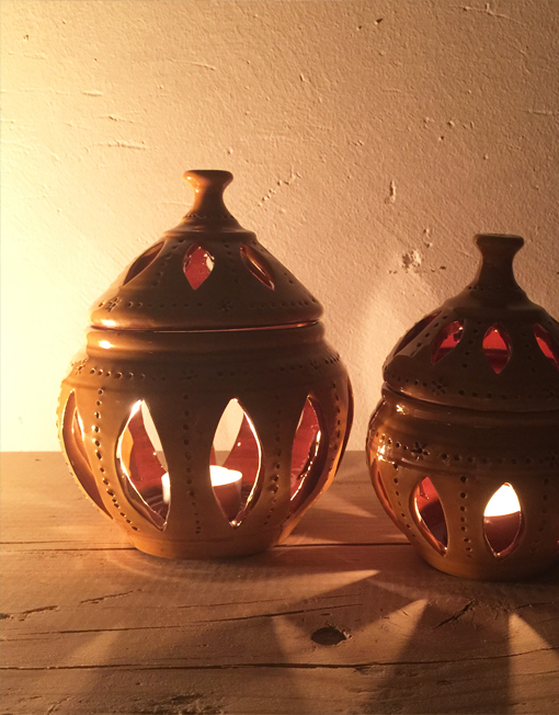 o small ceramic lantern with candle in mustard colour