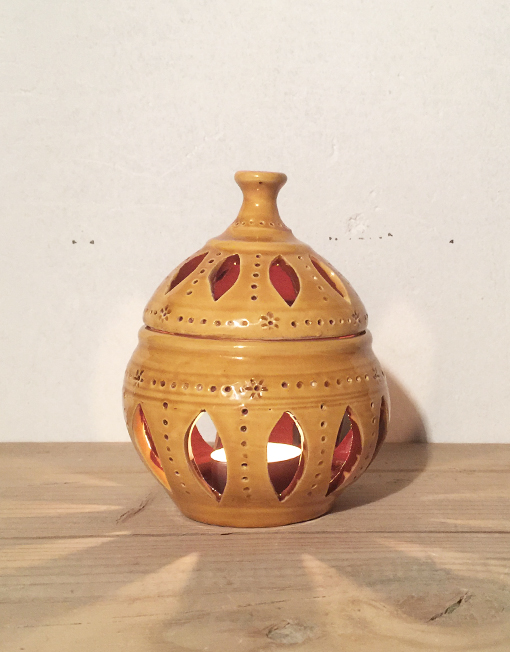 Big ceramic yellow candle lantern