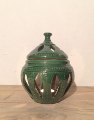 Medium ceramic candle lantern in green