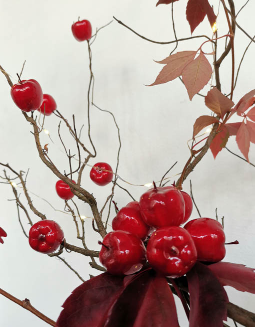 ramito de manzanas rojas árbol de navidad