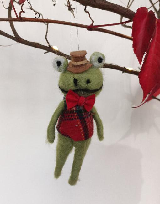 rana fieltro sombrero árbol de navidad