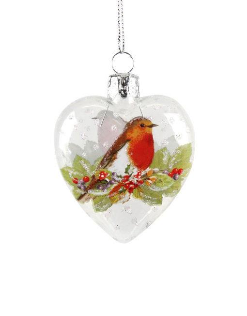 Corazon de cristal transparente con decoración de pájaro