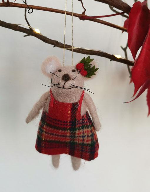 ratoncito fieltro vestido árbol de navidad