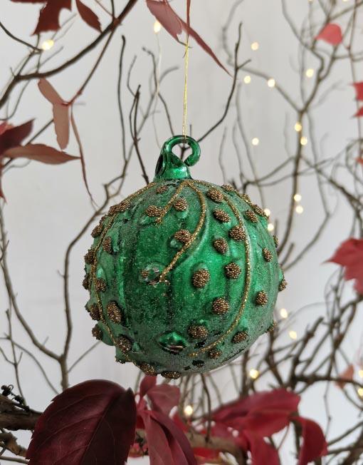 Bola vidrio verde oro vintage árbol de navidad