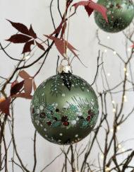 Bola vidrio vintage decorada verde árbol de navidad