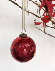 Bola vidrio tallado rojo vintage árbol de navidad