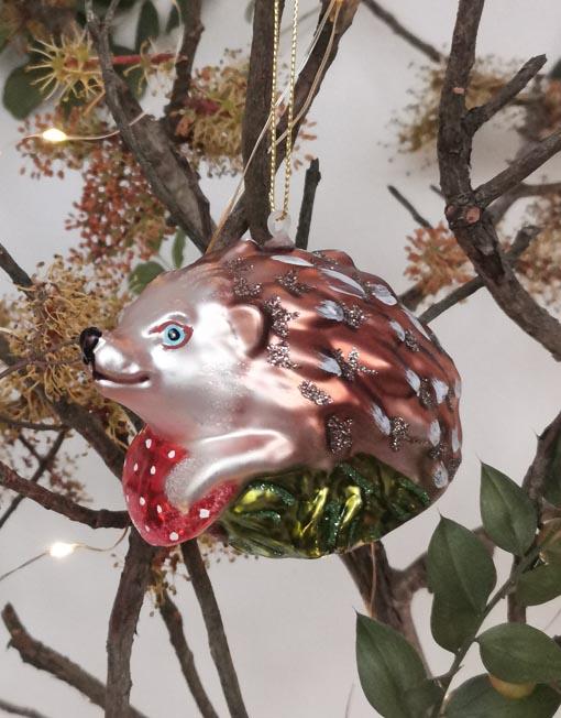 erizo Bola vidrio vintage árbol de navidad