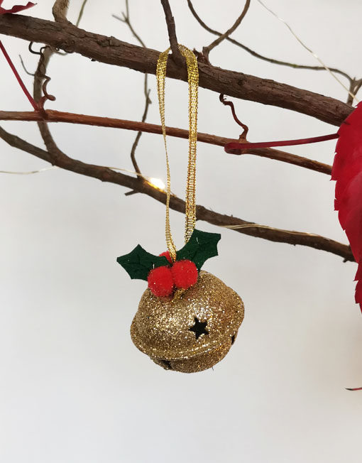 JINGLE BELL GOLD FELT XMAS TREE DECO