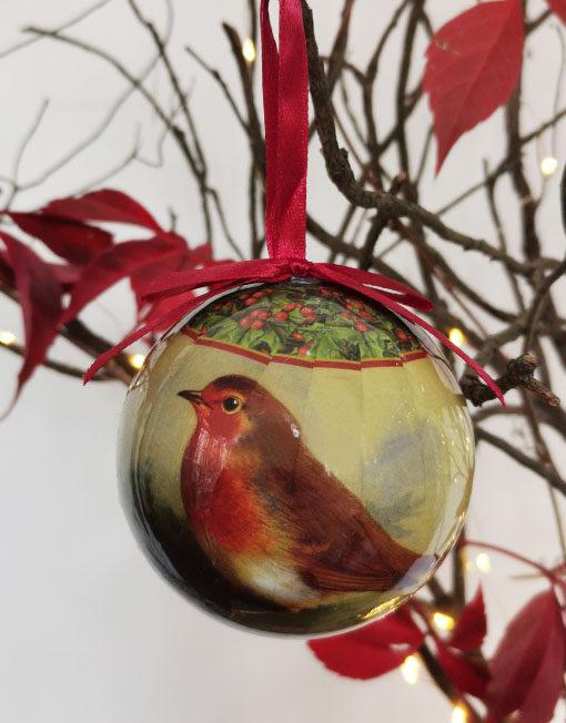Bola papel mache pájaro vintage árbol de navidad