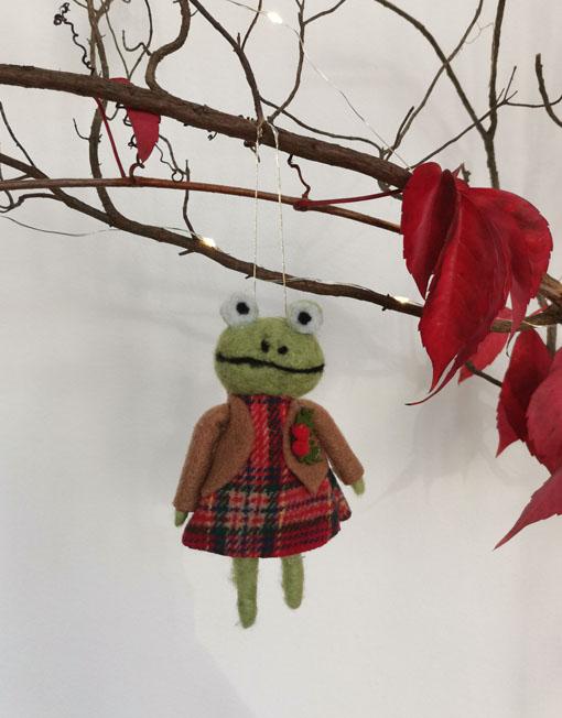 rana fieltro árbol de navidad