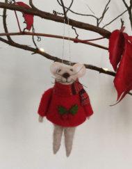 RED JERSEY FELT MOUSE XMAS TREE DECO