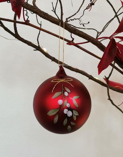Bola vidrio roja muérdago vintage árbol de navidad