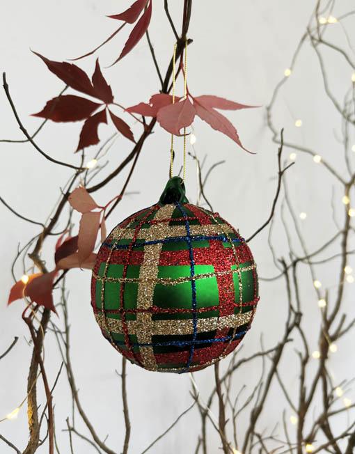 Bola vidrio cuadros vintage árbol de navidad