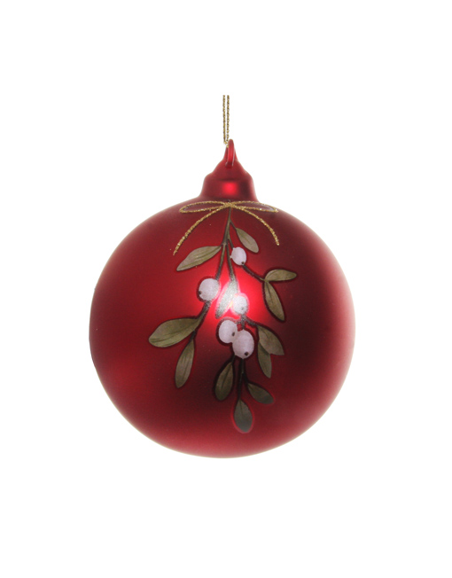 Mistletoe red glass ball Xmas decoration