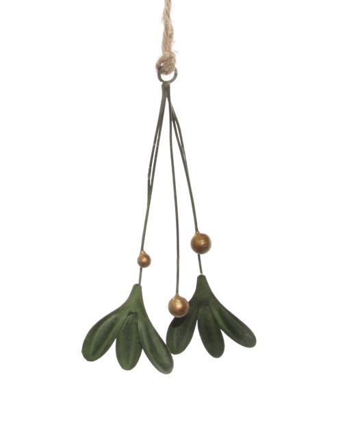 Metal mistletoe Xmas ornament
