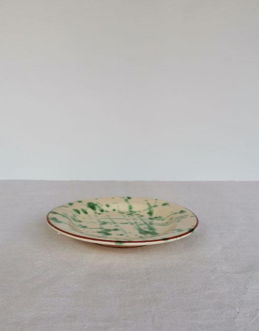 Plat de postre de ceràmica jaspiada en tons verds de La Bisbal D'Empordà