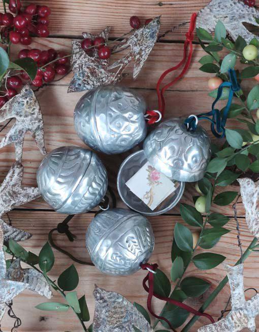 Chiseled metal box ball for Xmas tree.