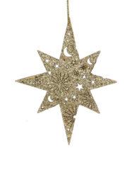 Decoración Navidad estrella madera troquelada dorada