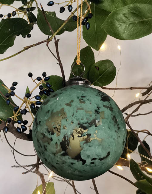 Rusted blue ball. Christmas ornament