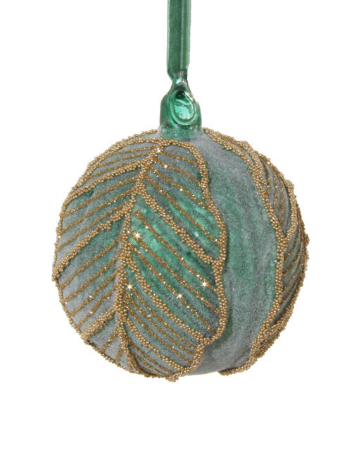 Turquoise green decorated ball. Christmas ornament