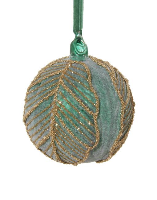 bola turquesa decorada dorada hoja navidad