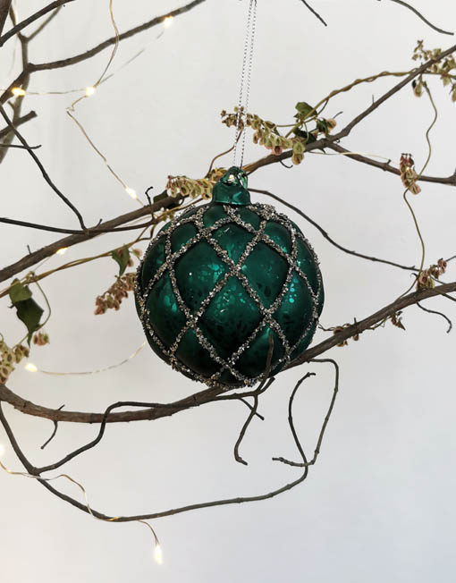 bola vidrio turquesa vintage glitter deco navidad