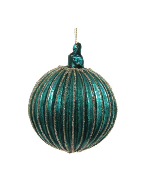 Fluted turquoise ball. Christmas ornament