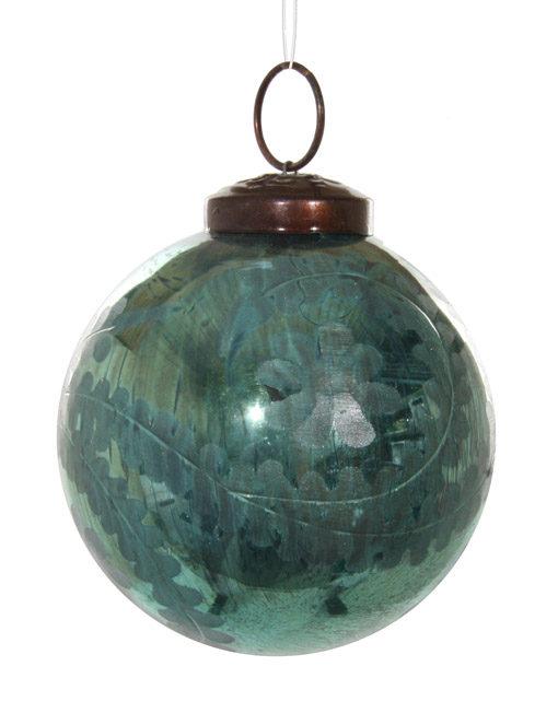 bola vintage vidrio tallado turquesa