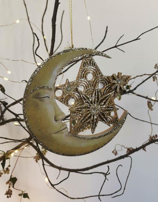 Plywood moon. Xmas decoration.