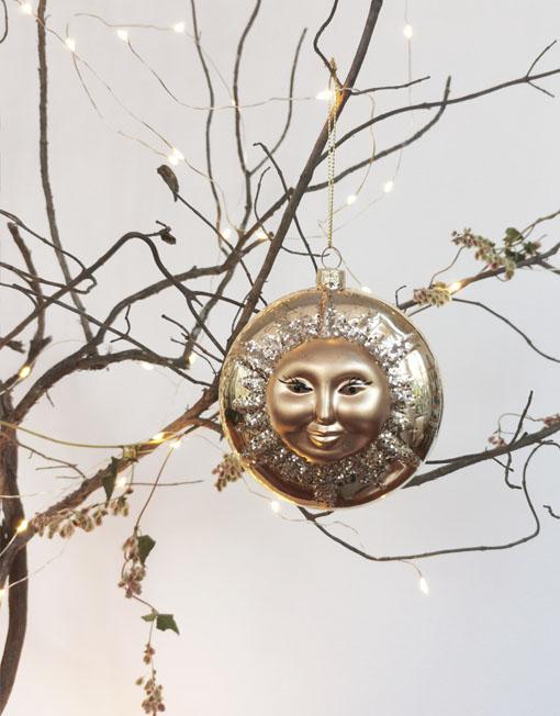Gold sun medal. Christmas ornament